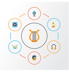 music flat icons set collection of male band vector image