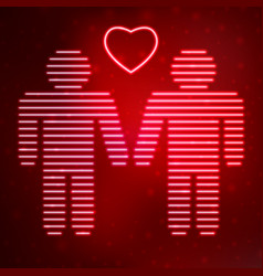 Neon icon gay couple in love vector