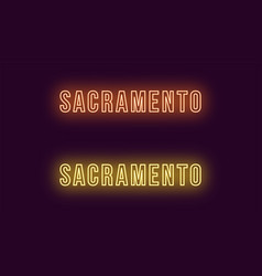 Neon name of sacramento city in usa text vector