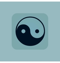 Pale blue ying yang icon vector