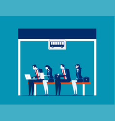 people sitting at bus stop concept business vector image