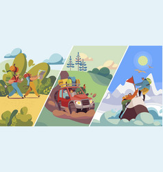 People travel to nature hiking and mountaineering vector