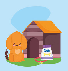 pet shop dog sitting with collar food and house vector image