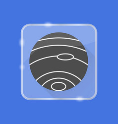 planet neptune silhouette icon in flat style on vector image