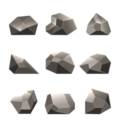 Polygon stone or poly rocks set vector