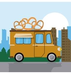Pretzel truck fast food icon graphic vector