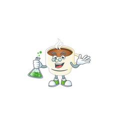 Professor character cup coffee in cartoon mascot vector