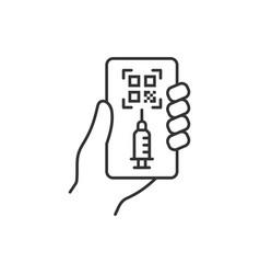qr code vaccination passport line icon vector image