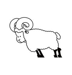 Ram farm animal isolated horned sheep beast vector