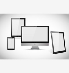 Realistic computer laptop tablet and smartphone vector