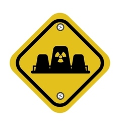 Rhombus security yellow sign vector
