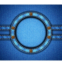 Round jeans frame with rivets vector image