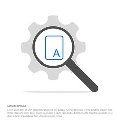 sample text icon search glass with gear symbol vector image