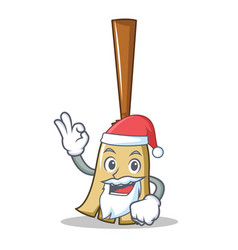 santa broom character cartoon style vector image