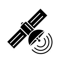 satellite icon black sign on vector image
