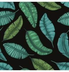 Seamless hand drawn pattern with banana leaves vector image
