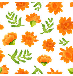 seamless pattern with marigolds on white backdrop vector image