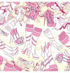 Seamless pattern with women boots and fashion vector image