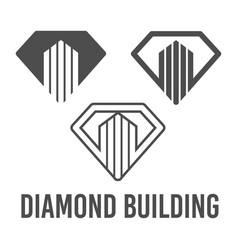 set abstract diamond building icon logo vector image