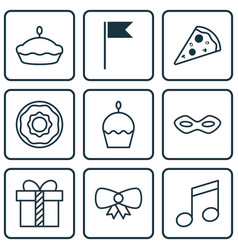 Set of 9 holiday icons includes flan sliced vector