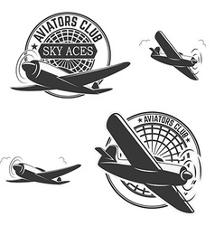 Set of aviators club labels vector