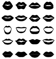 Set of black lips vector image