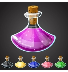 Set of cartoon potion bottle vector