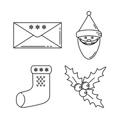 set of christmas icons in thin line style vector image