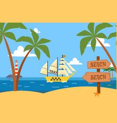 ships in bottle ocean tropical taxi service vector image
