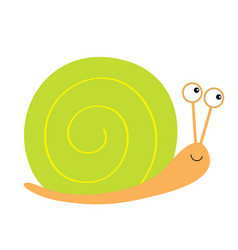Snail icon green shell cute cartoon kawaii funny vector