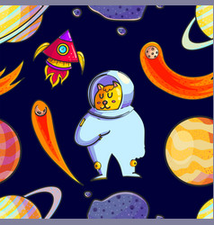 space hand drawn seamless pattern vector image