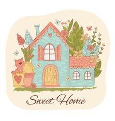 Spring home garden cartoon set vector