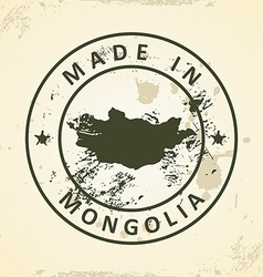 Stamp with map of Mongolia vector image