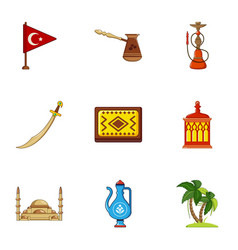 Turkey symbols icons set cartoon style vector