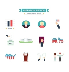 USA presidental election Icons set Vote concept vector