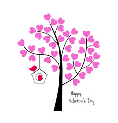Valentines day birds with tree and birdhouse vector