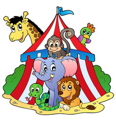 Various animals in circus tent vector
