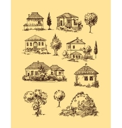 Village houses Sketch style vector
