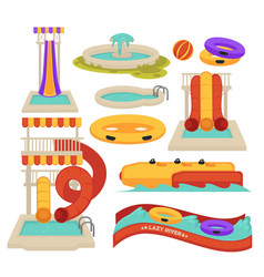 Water attractions swimming pool slides vector
