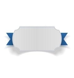 White festive Card on blue Ribbon vector
