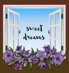 window with flowers vector image
