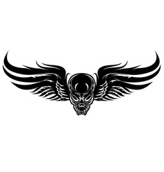 winged evil black skull on a white background vector image