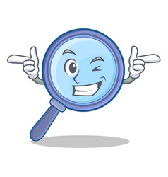 Wink magnifying glass character cartoon vector