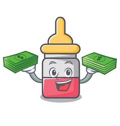 With money bag nassal drop mascot cartoon vector
