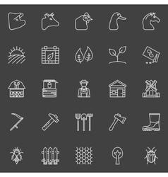 Farm thin line icons vector image