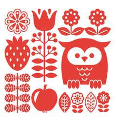 finnish inspired folk art red pattern - scandinavi vector image vector image