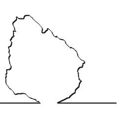 map of uruguay continous line vector image