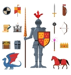 Medieval kingdom knights flat icons set vector
