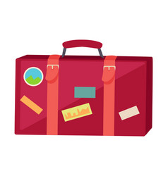 Suitcase with travel stickers isolated on white vector
