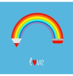 Colored pencil in shape of rainbow in the sky Love vector image